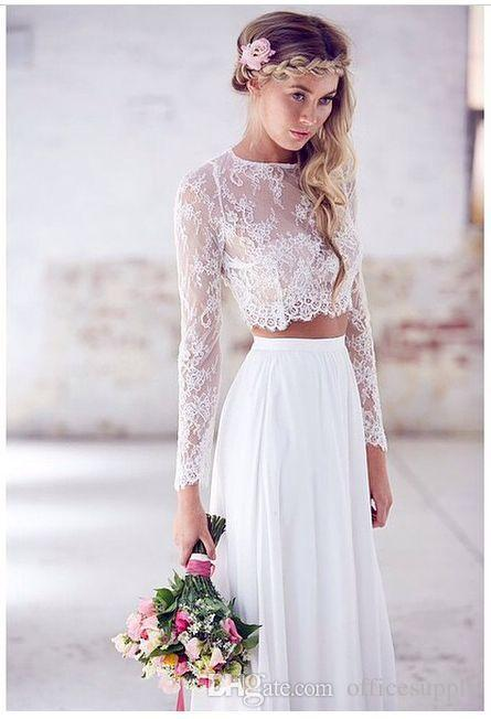 2016 Hot Sale Two Pieces Crop Top Bohemian Wedding Dresses Chiffon Ruched Floor Length Wedding Gowns Spring Lace Long Sleeve Wedding Dresses