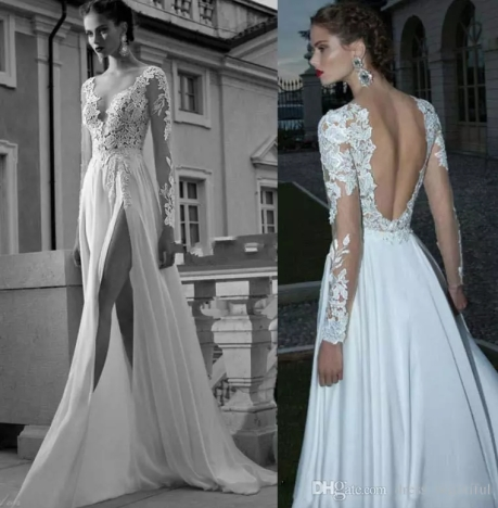 sexy-backless-2016-wedding-dresses-lace-applique-split-front-a-line-deep-v-neck-sheer-long-sleeves-chiffon-white-bridal-gowns
