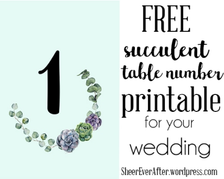 Free table numbers with succulents and eucalyptus