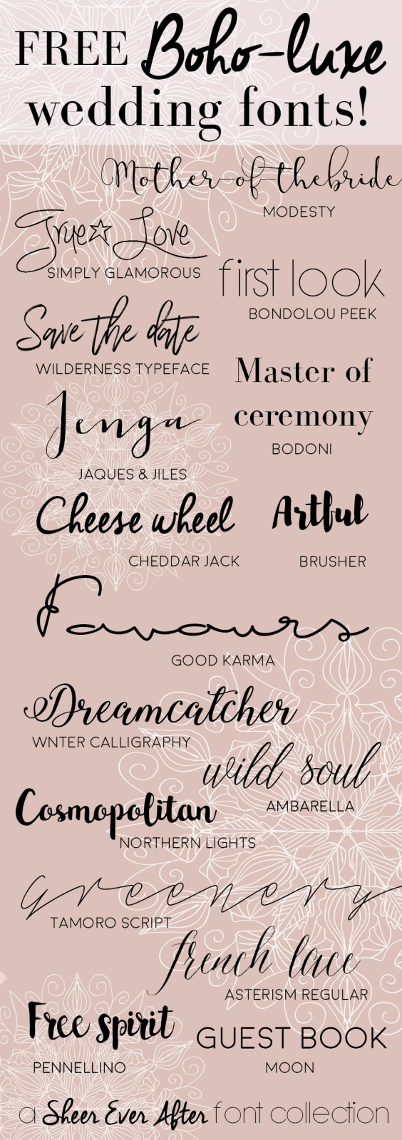 Free Boho-luxe fonts for your grahic wedding projects